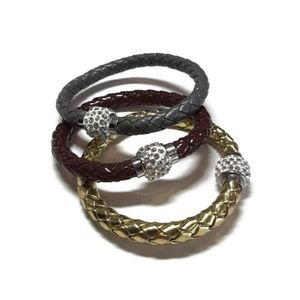 Jewelry - Bundle of 3 Braided Rhinestone Magnetic Bracelets